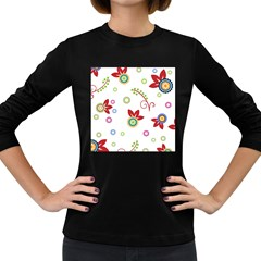 Colorful Floral Wallpaper Background Pattern Women s Long Sleeve Dark T-Shirts