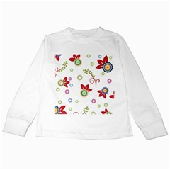 Colorful Floral Wallpaper Background Pattern Kids Long Sleeve T Shirts