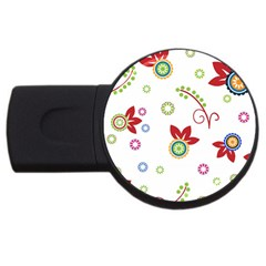 Colorful Floral Wallpaper Background Pattern Usb Flash Drive Round (4 Gb)