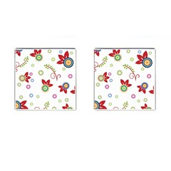 Colorful Floral Wallpaper Background Pattern Cufflinks (square)
