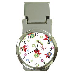 Colorful Floral Wallpaper Background Pattern Money Clip Watches