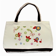 Colorful Floral Wallpaper Background Pattern Basic Tote Bag