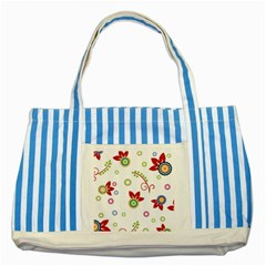 Colorful Floral Wallpaper Background Pattern Striped Blue Tote Bag