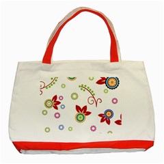 Colorful Floral Wallpaper Background Pattern Classic Tote Bag (red)
