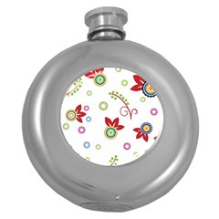 Colorful Floral Wallpaper Background Pattern Round Hip Flask (5 Oz)