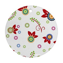 Colorful Floral Wallpaper Background Pattern Round Ornament (two Sides)