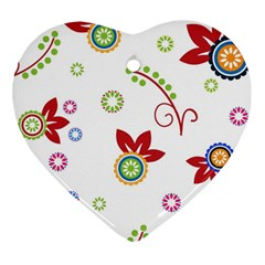 Colorful Floral Wallpaper Background Pattern Heart Ornament (Two Sides)