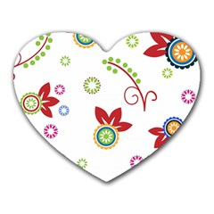 Colorful Floral Wallpaper Background Pattern Heart Mousepads