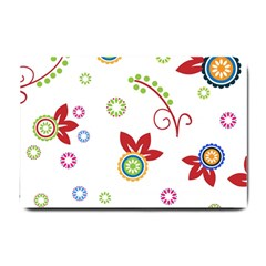 Colorful Floral Wallpaper Background Pattern Small Doormat
