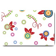 Colorful Floral Wallpaper Background Pattern Large Doormat