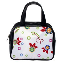 Colorful Floral Wallpaper Background Pattern Classic Handbags (One Side)
