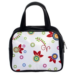 Colorful Floral Wallpaper Background Pattern Classic Handbags (2 Sides)