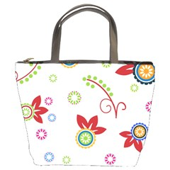 Colorful Floral Wallpaper Background Pattern Bucket Bags