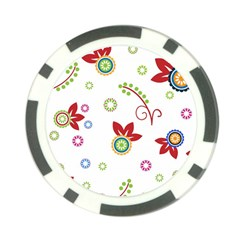 Colorful Floral Wallpaper Background Pattern Poker Chip Card Guard (10 Pack)