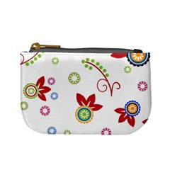 Colorful Floral Wallpaper Background Pattern Mini Coin Purses