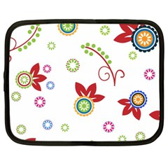 Colorful Floral Wallpaper Background Pattern Netbook Case (xxl)