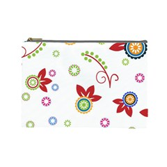 Colorful Floral Wallpaper Background Pattern Cosmetic Bag (large)