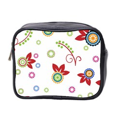 Colorful Floral Wallpaper Background Pattern Mini Toiletries Bag 2 Side