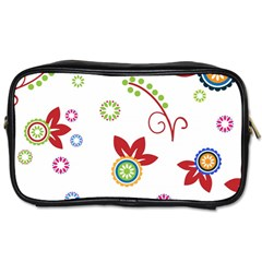 Colorful Floral Wallpaper Background Pattern Toiletries Bags 2 Side