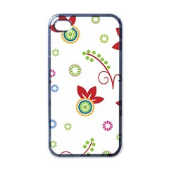 Colorful Floral Wallpaper Background Pattern Apple Iphone 4 Case (black)