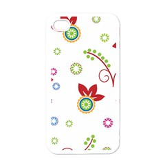 Colorful Floral Wallpaper Background Pattern Apple Iphone 4 Case (white)