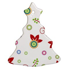 Colorful Floral Wallpaper Background Pattern Christmas Tree Ornament (two Sides)