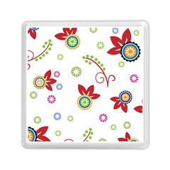 Colorful Floral Wallpaper Background Pattern Memory Card Reader (square)
