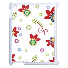 Colorful Floral Wallpaper Background Pattern Apple Ipad 2 Case (white)