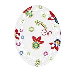 Colorful Floral Wallpaper Background Pattern Oval Filigree Ornament (two Sides)