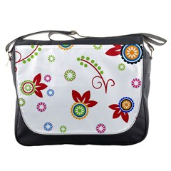 Colorful Floral Wallpaper Background Pattern Messenger Bags