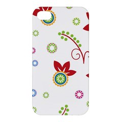 Colorful Floral Wallpaper Background Pattern Apple Iphone 4/4s Premium Hardshell Case
