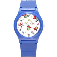 Colorful Floral Wallpaper Background Pattern Round Plastic Sport Watch (s)