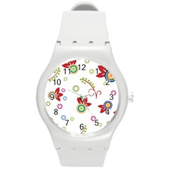 Colorful Floral Wallpaper Background Pattern Round Plastic Sport Watch (M)