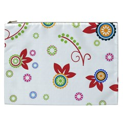 Colorful Floral Wallpaper Background Pattern Cosmetic Bag (xxl)