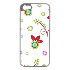Colorful Floral Wallpaper Background Pattern Apple Iphone 5 Case (silver)