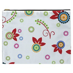 Colorful Floral Wallpaper Background Pattern Cosmetic Bag (xxxl)