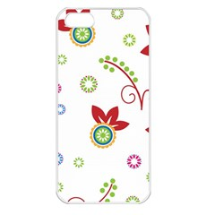 Colorful Floral Wallpaper Background Pattern Apple Iphone 5 Seamless Case (white)