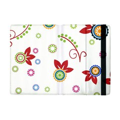 Colorful Floral Wallpaper Background Pattern Apple Ipad Mini Flip Case