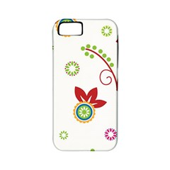 Colorful Floral Wallpaper Background Pattern Apple Iphone 5 Classic Hardshell Case (pc+silicone)