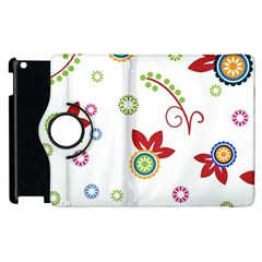 Colorful Floral Wallpaper Background Pattern Apple Ipad 2 Flip 360 Case
