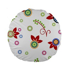 Colorful Floral Wallpaper Background Pattern Standard 15  Premium Round Cushions