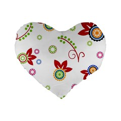 Colorful Floral Wallpaper Background Pattern Standard 16  Premium Heart Shape Cushions