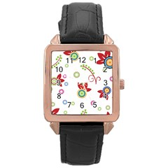 Colorful Floral Wallpaper Background Pattern Rose Gold Leather Watch