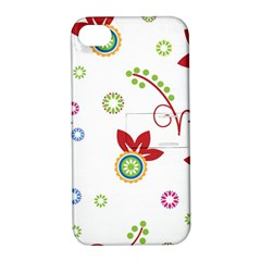 Colorful Floral Wallpaper Background Pattern Apple Iphone 4/4s Hardshell Case With Stand
