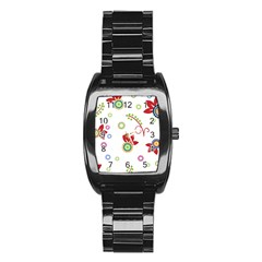 Colorful Floral Wallpaper Background Pattern Stainless Steel Barrel Watch