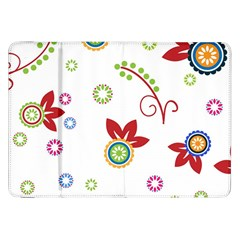 Colorful Floral Wallpaper Background Pattern Samsung Galaxy Tab 8 9  P7300 Flip Case