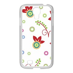 Colorful Floral Wallpaper Background Pattern Samsung Galaxy S4 I9500/ I9505 Case (white)