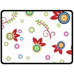 Colorful Floral Wallpaper Background Pattern Double Sided Fleece Blanket (large)