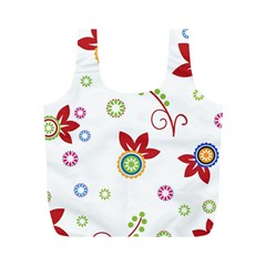 Colorful Floral Wallpaper Background Pattern Full Print Recycle Bags (m)