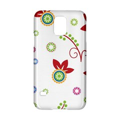 Colorful Floral Wallpaper Background Pattern Samsung Galaxy S5 Hardshell Case